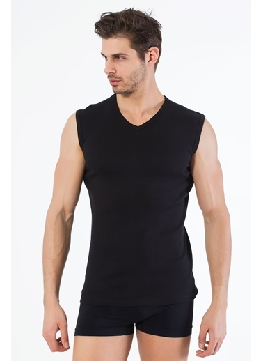 Siyah İnci 2'li Pamuklu V Yaka Kolsuz T-Shirt Siyah